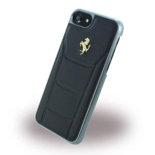 Накладка Ferrari для iPhone 7 488 (Gold) Hard Leather Black FESEGHCP7BK