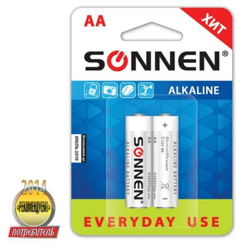 "Батарейка AA (LR6) алкалиновая Sonnen Alkaline ""Everyday use"", 451086, 1.5В, цена за 1шт"